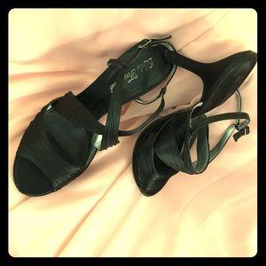 Black crisscross heels